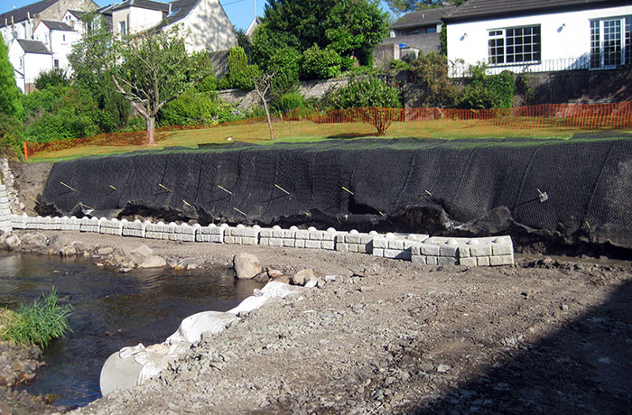 Construction of a pre-cast concrete retaining wall at a private residence in Dalry