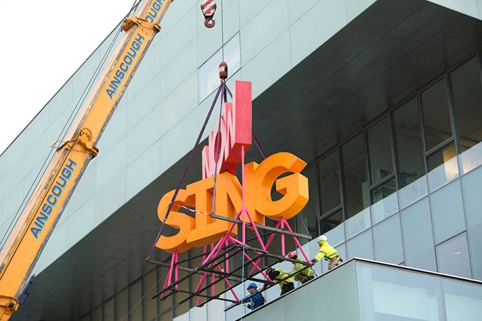 Installation of Now Sing by Michael Stumpf at the Glasgow School of Art's Reid Building